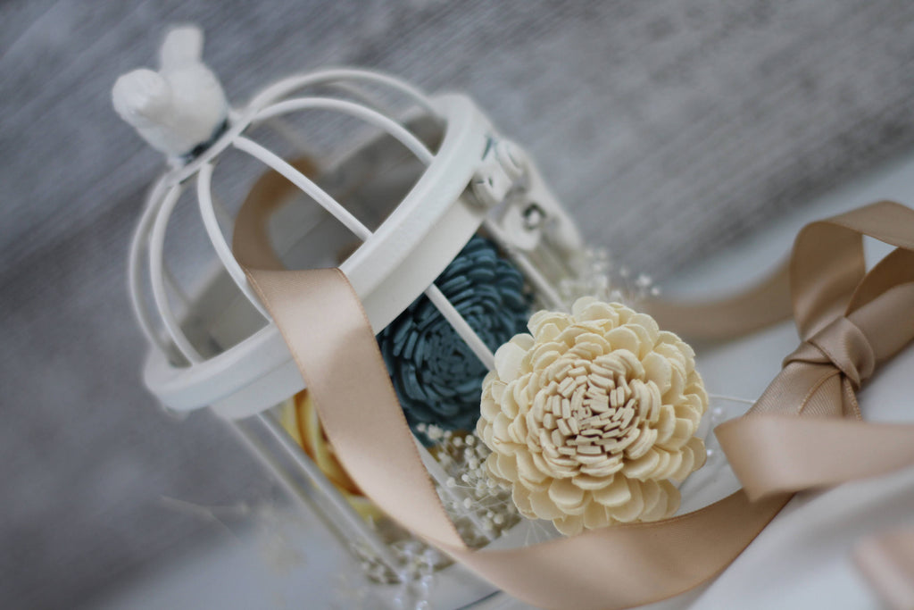 Vintage Flower Girl Birdcage - PineandPetalWeddings