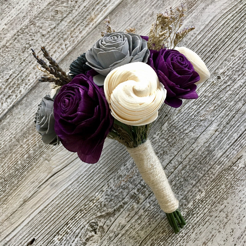 Elegant Lavender Wooden Flower Bouquet - PineandPetalWeddings