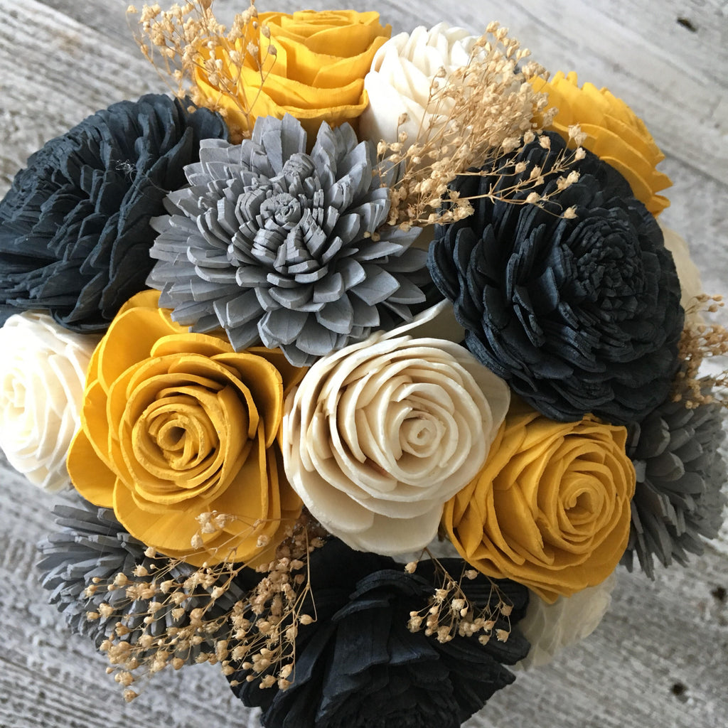 Charcoal Wooden Flower Bouquet Bouquets Pine and Petal Weddings