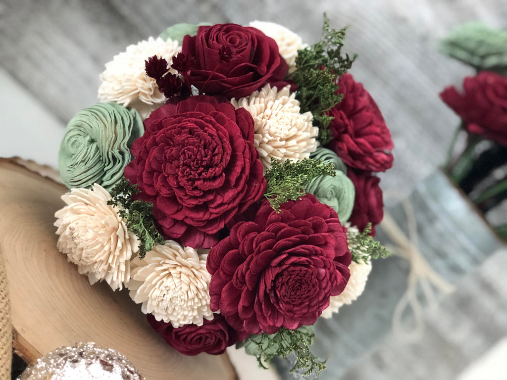 Classic Holiday Holi-Daze Wooden Flower Bouquet Fall & Winter Collection Pine and Petal Weddings
