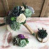 SAMPLE BOX Rich Garden Succulent - Includes Small Bouquet, Boutonniere and Corsage Bouquets Pine and Petal Weddings