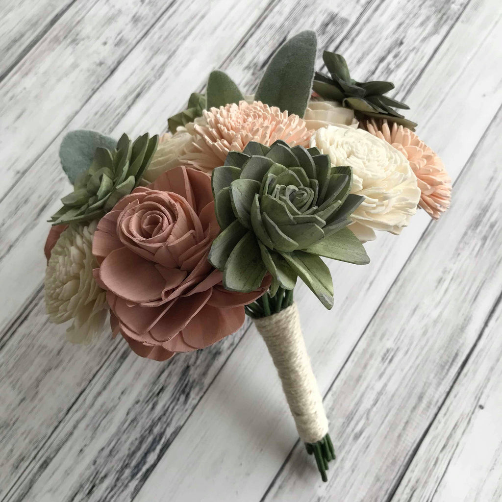 SAMPLE BOX Soft Succulent - Small Bridesmaid Bouquet, Boutonniere and Corsage Bouquets Pine and Petal Weddings