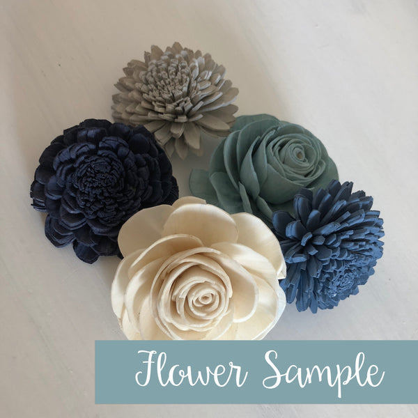 SAMPLE Spring Frost Loose Flowers - 6-8 Wood Flowers - Sola Flowers - Blue, Green, Grey - Wedding Flowers - Pine and Petal - Sola Wood