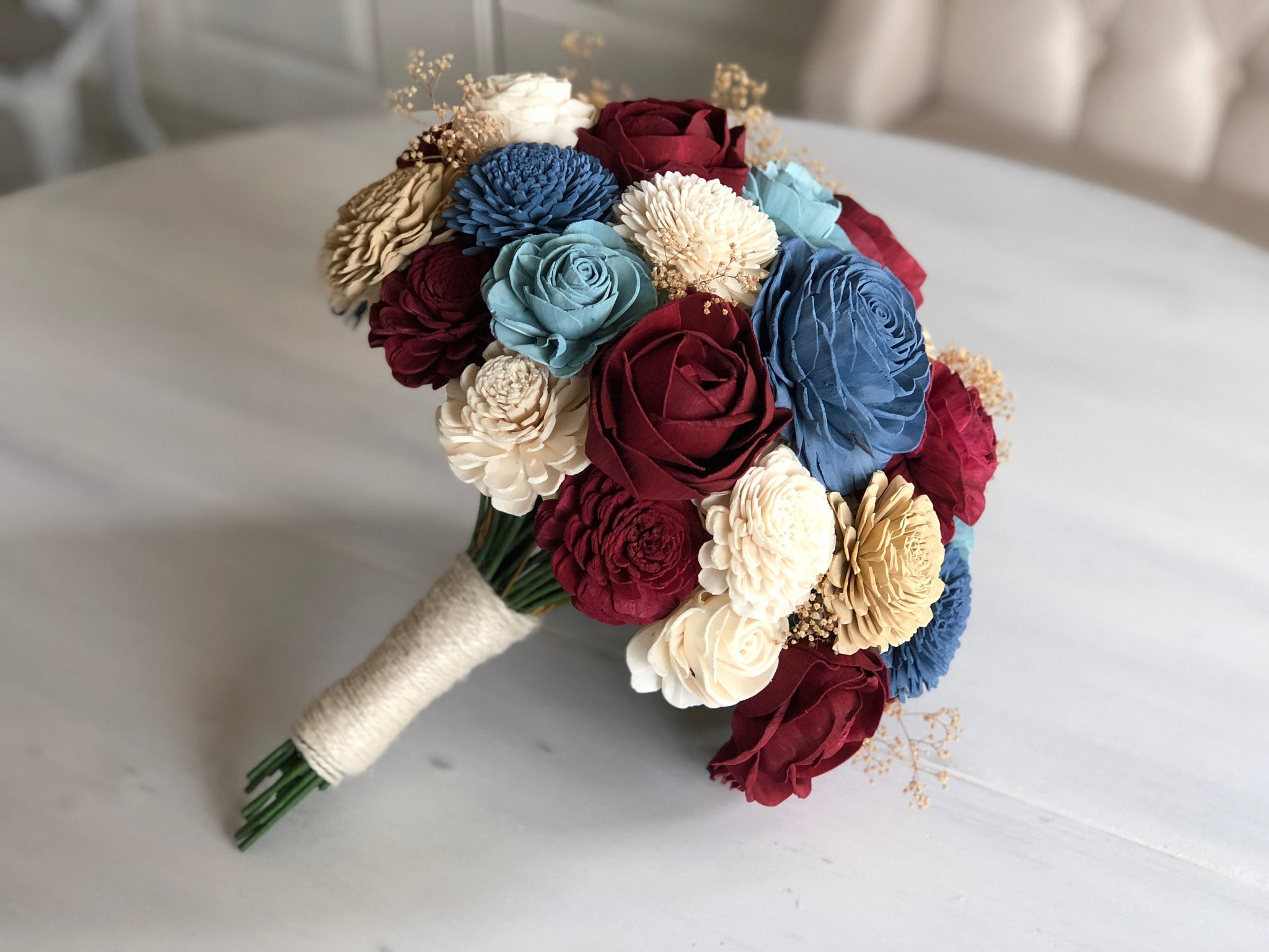 Heartland Bouquet - Wood Flowers - Sola Flowers - Blue and Burgundy -  Wedding Bouquet  - Wedding Flowers - Pine and Petal - Sola Wood