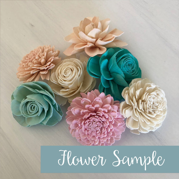 SAMPLE Mermaid Lagoon Loose Flowers - 6-8 Wood Flowers - Sola Flowers - Teal, Mint, Pink, Blush - Wedding Flower - Pine and Petal