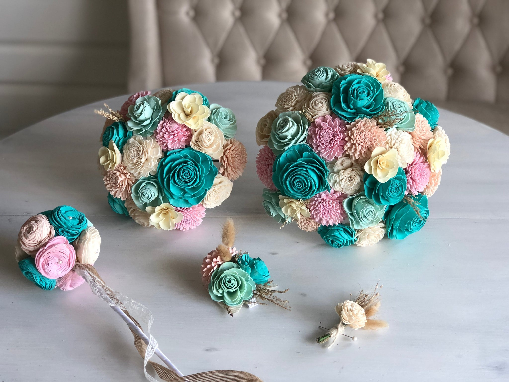 Mermaid Lagoon Bouquet - Wood Flowers - Sola Flowers - Teal, Mint, Blush, Pink -  Wedding Bouquet  - Wedding Flowers - Pine and Petal