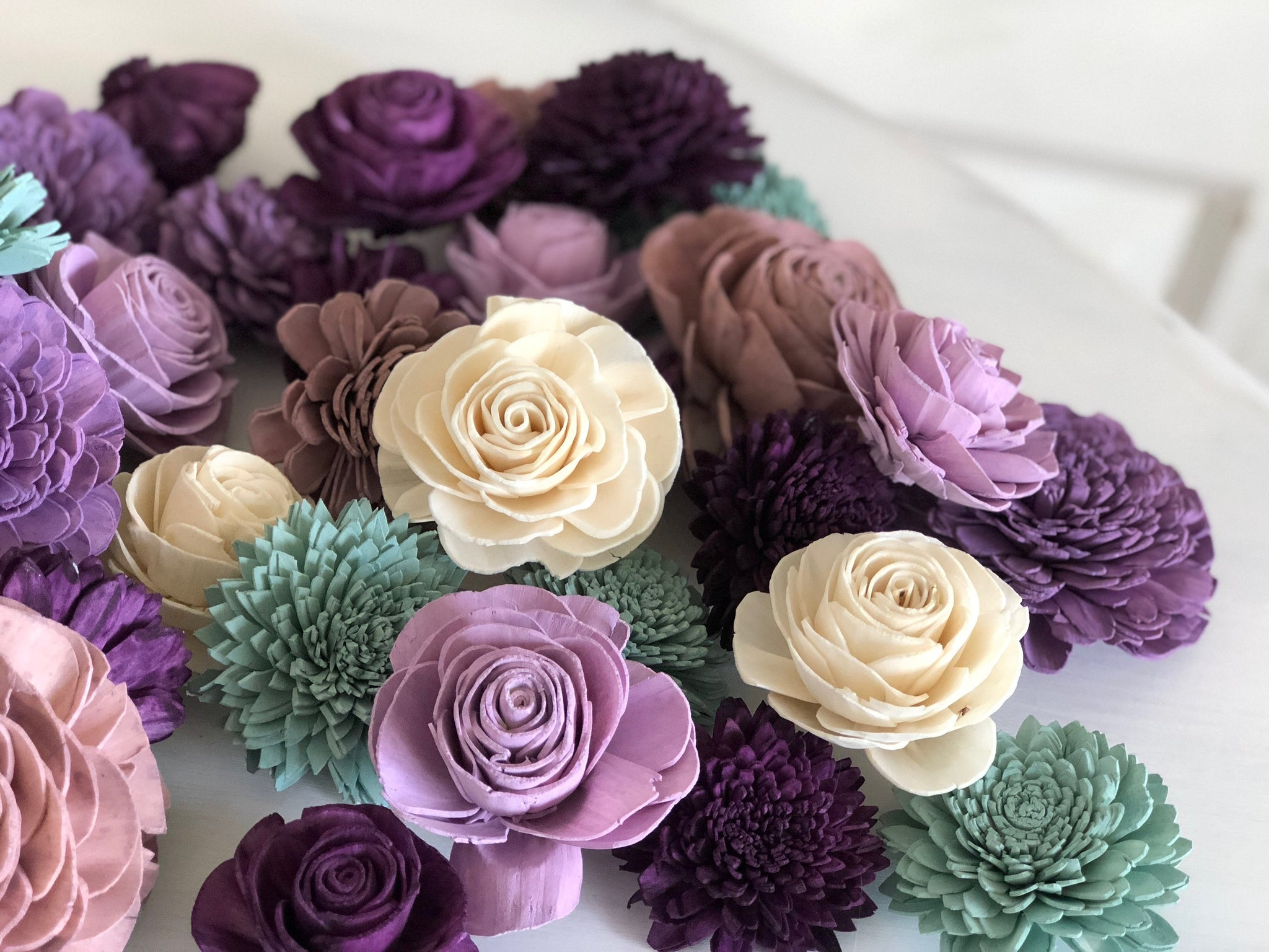 Loose Flowers Napa Valley - Wood Flower - Sola Flowers - Purples and Green -  Bulk Sola Flowers  - Wedding Flowers - Pine and Petal - Sola