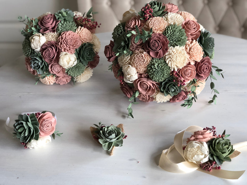 SAMPLE Berry Succulent Loose Flowers - PineandPetalWeddings
