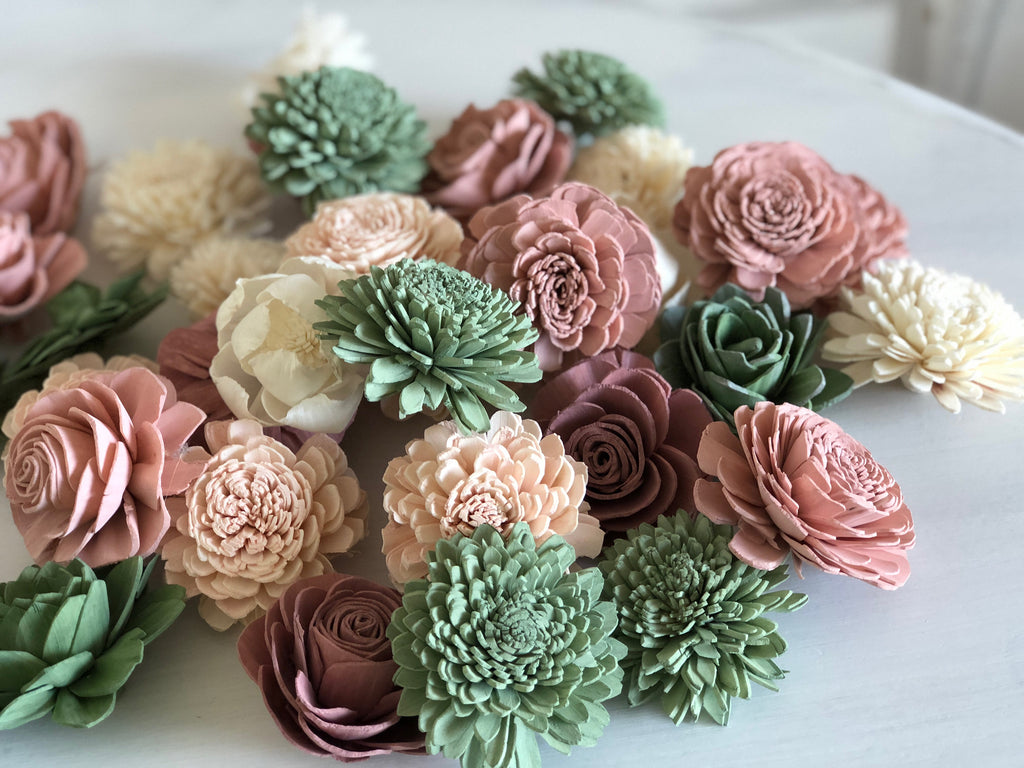 12 Loose Flower Assortment - Berry Succulent Loose Flowers Assortment - PineandPetalWeddings