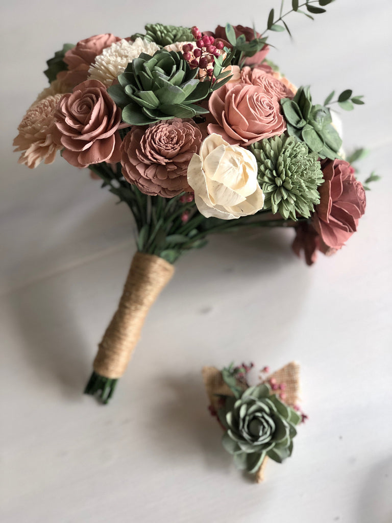 Berry Succulent Boutonnière Boutonnières & Corsages Pine and Petal Weddings