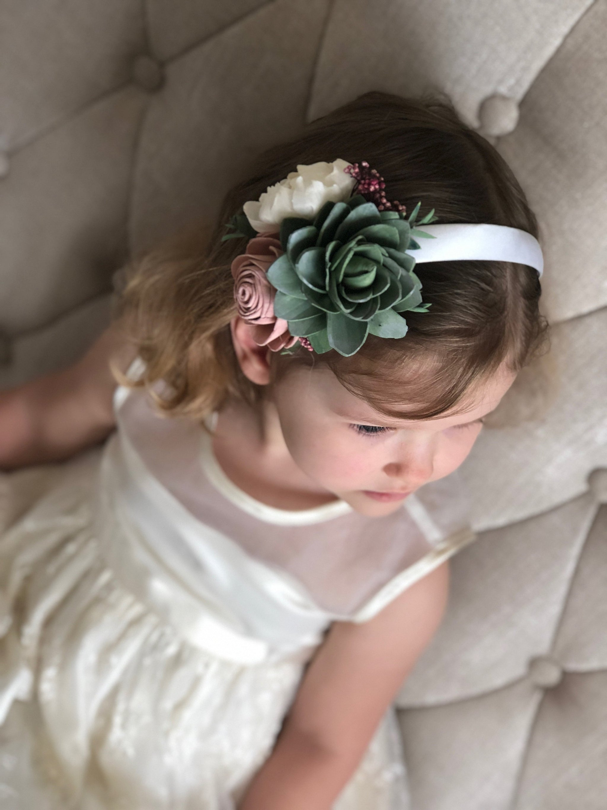Berry Succulent Floral Headband - Flower Girl Wood Flowers - Sola Flowers - Natural Floral Crown - Hairpiece - Pine and Petal - Flower Crown