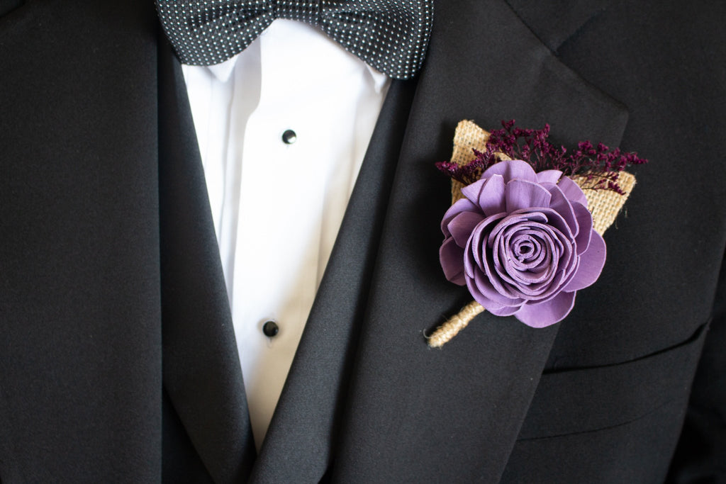 Napa Valley Rose Boutonnière - PineandPetalWeddings