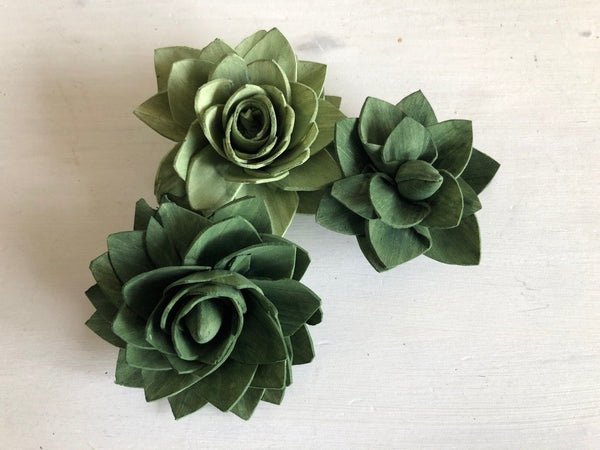 Green Delicate Wood Succulents - Assorted Sola Flowers - Loose Flowers - Wooden Flowers - Wedding Bouquet Flowers - Eco Friendly