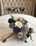 Blue, Grey and Natural Wood Book Pages Blue Flower Bouquet - PineandPetalWeddings