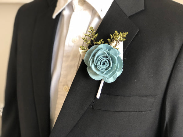 Spring Frost Boutonnière - Wood Flowers - Sola Flowers - Blue, Green, Grey -  Customizable  - Wedding Flowers - Pine and Petal - Sola Wood