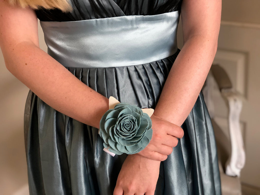 Spring Frost Rose Corsage Boutonnières & Corsages Pine and Petal Weddings