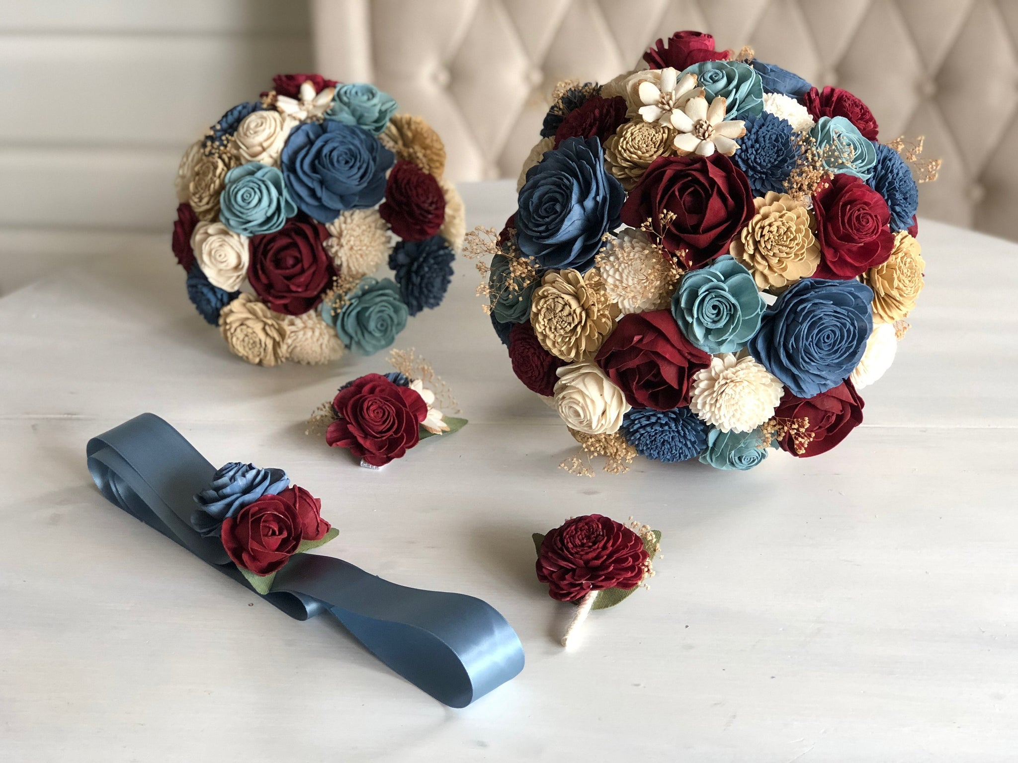 Blue and Burgundy Flowers