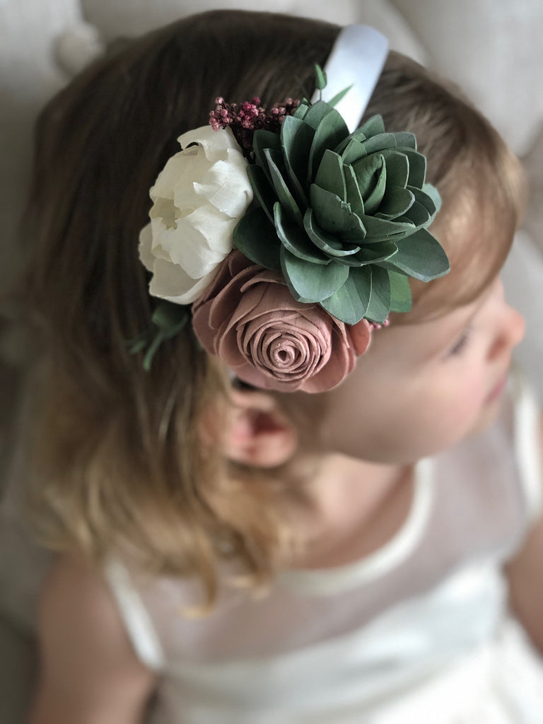 Berry Succulent Floral Headband Hairpieces & Accessories Pine and Petal Weddings