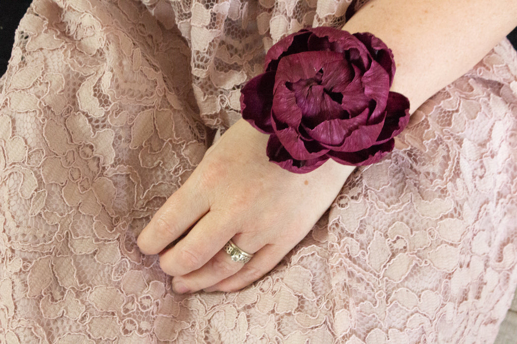 Enchanting Peony Wrist Corsage - PineandPetalWeddings