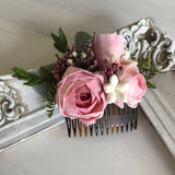 Rosey Pink Haircomb Hairpieces & Accessories Pine and Petal Weddings