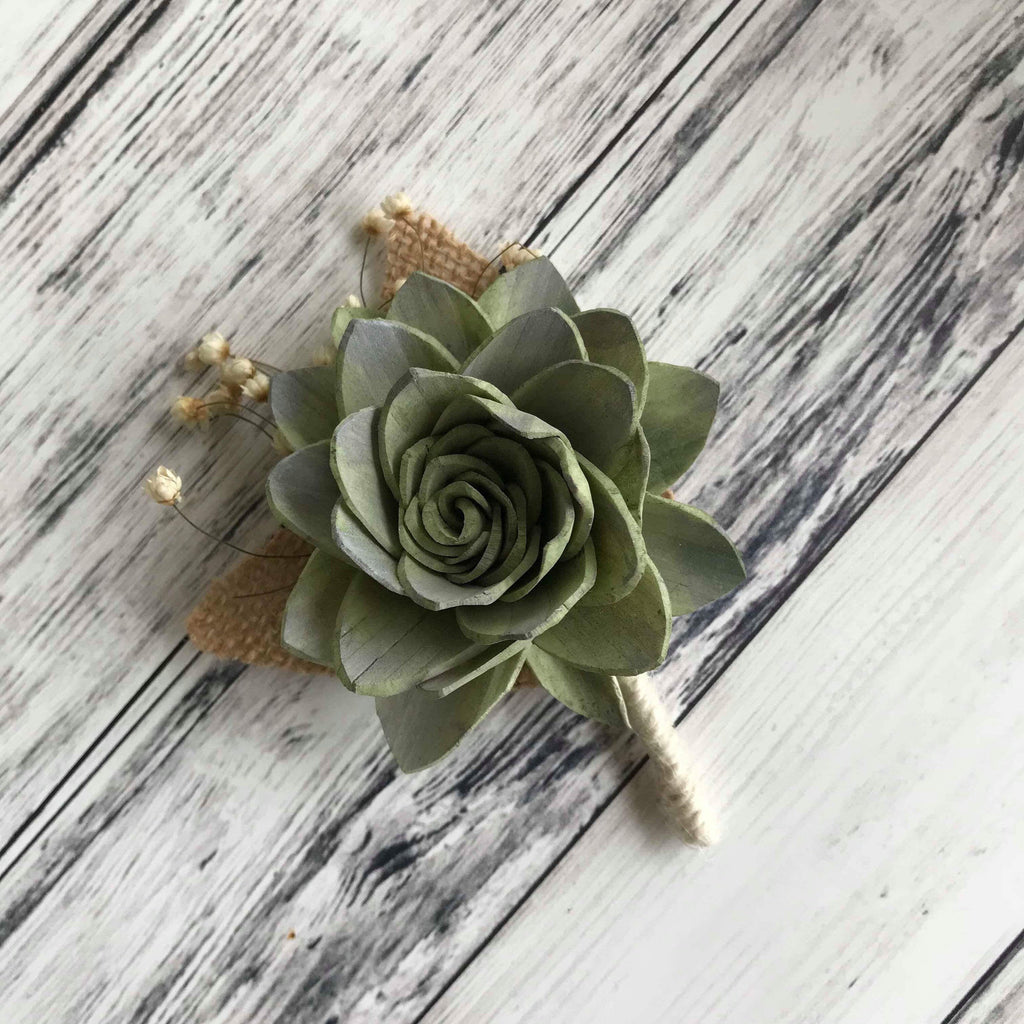 Soft Succulent Boutonnière - PineandPetalWeddings