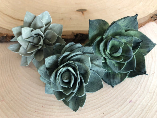 Blue and Green Delicate Wood Succulents - Assorted Sola Flowers - Loose Flowers - Wooden Flowers - Wedding Bouquet Flowers - Eco Friendly