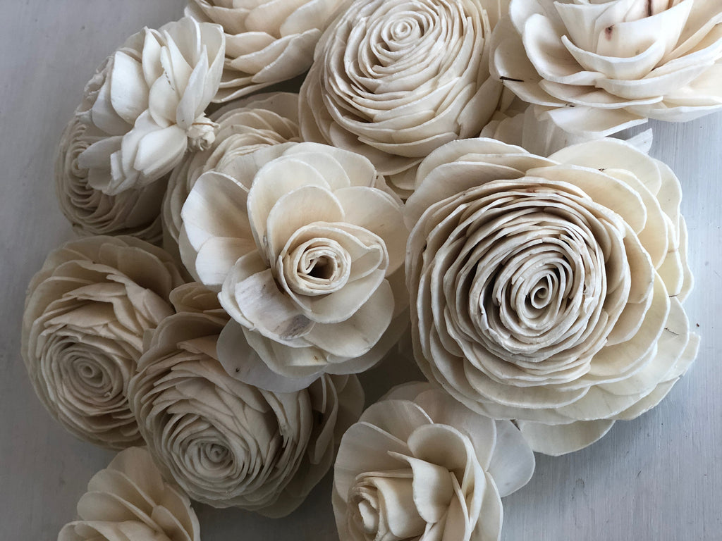 "12 Flower Assortment - Grace Sola Wood Rose 1-3.5"" - PineandPetalWeddings"