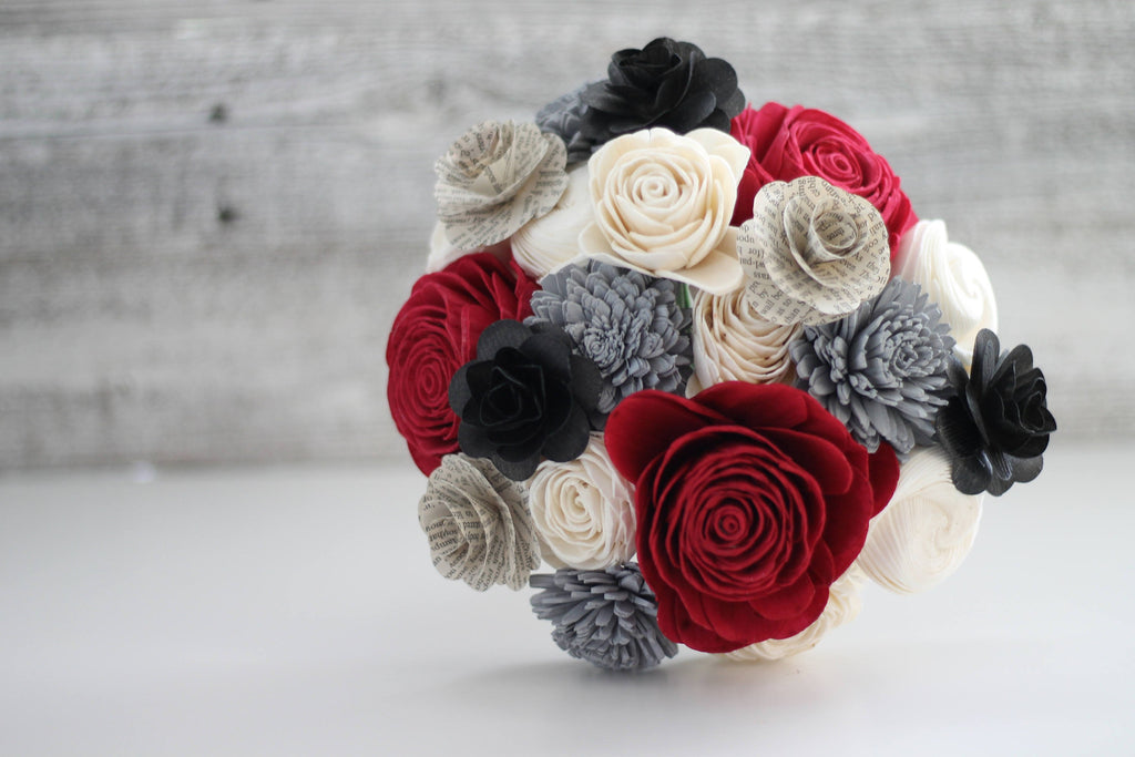 Classy Book Page Flower Bouquet - PineandPetalWeddings