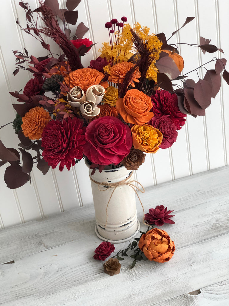 Fall Gather 'Round Table Vase Arrangement Fall & Winter Collection Pine and Petal Weddings