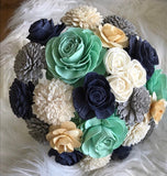 Navy, Grey And Mint Wooden Flower Bouquet Bouquets Pine and Petal Weddings