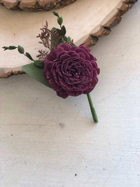 Garden Boutonnière - Wooden Flowers - Garden Woodland Wedding Collection - Grape - Custom Colors - Made to Order