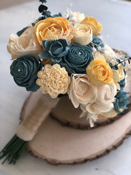 Vintage Bridesmaid Bouquet - Wooden Flowers - Timeless Vintage Wedding Collection - Blue, Yellow - Custom Colors - Made to Order