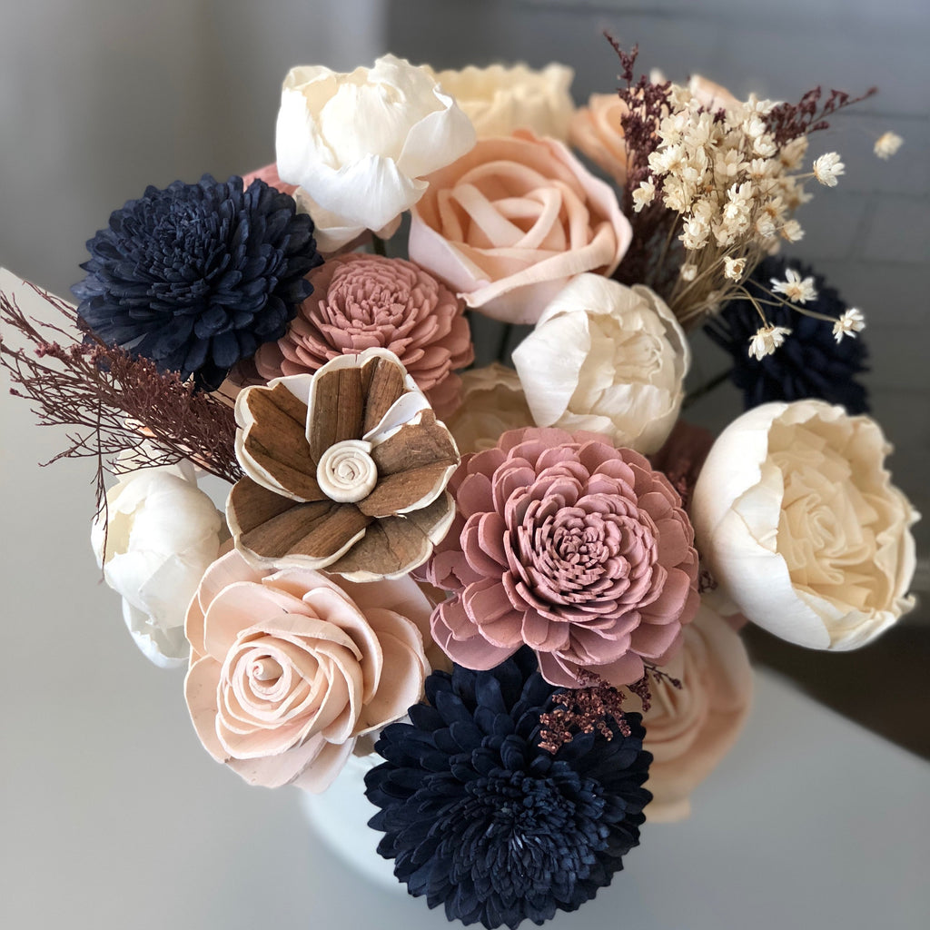 Pink Blush and Navy Wooden Flower Arrangement Arrangements Pine and Petal Weddings