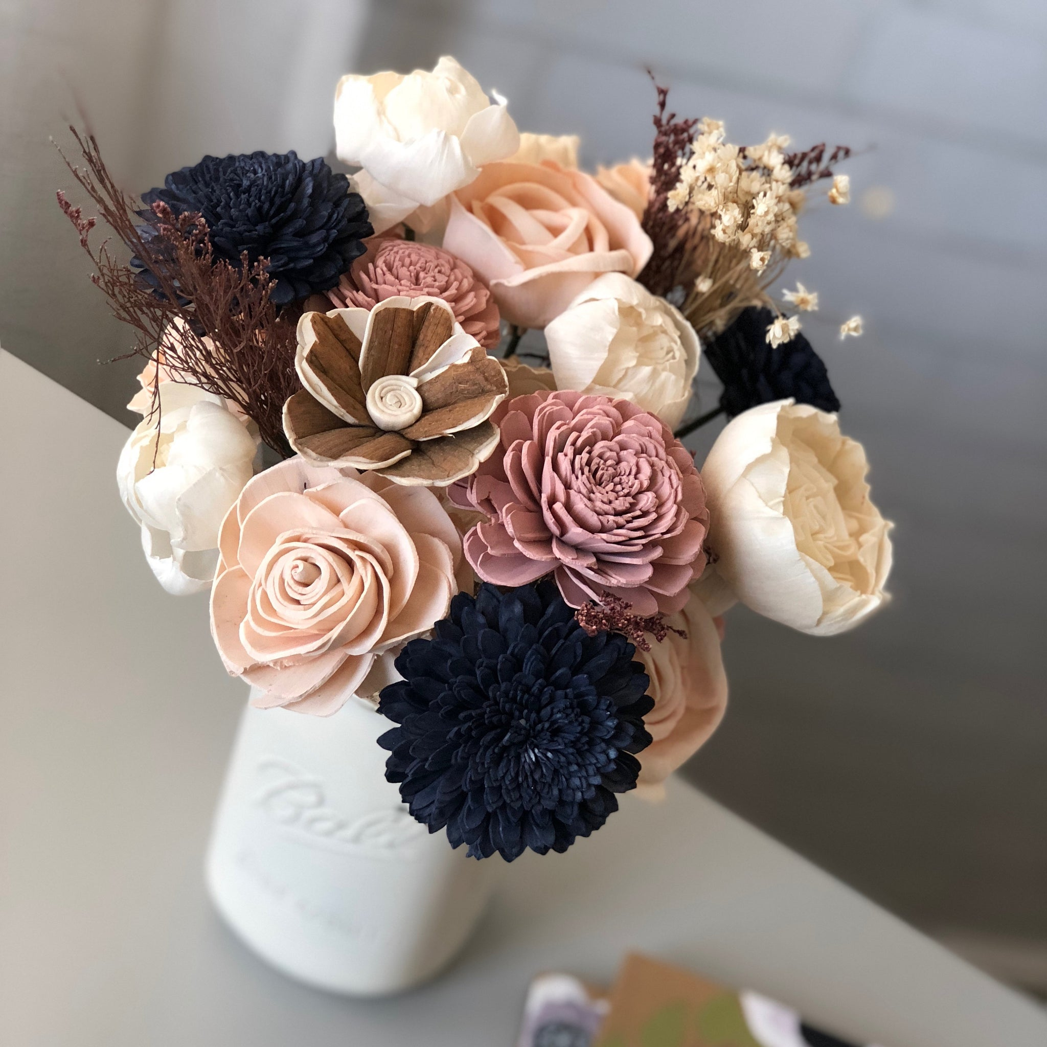 Pink Blush and Navy Wooden Flower Arrangement - Farmhouse Flourish Collection - Rustic Decor -  Forever Flowers - Birthday Gift