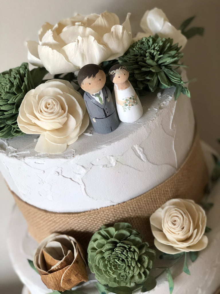 Custom Peg Dolls Cake Accent - NO FLOWERS Cake Flowers & Toppers Pine and Petal Weddings