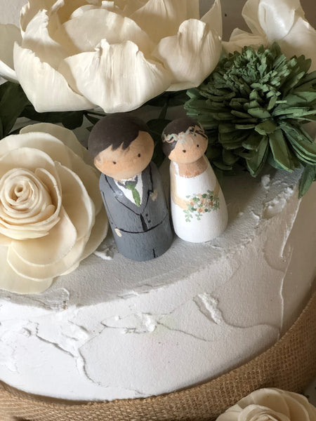 Custom Peg Dolls Cake Accent - Sola Flowers - Wood Flowers - Matching Bouquet -Wedding Cake Topper - Flowers NOT Included