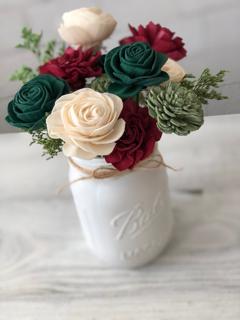 Christmas in the Country - SMALL Pint Jar Arrangement Fall & Winter Collection Pine and Petal Weddings