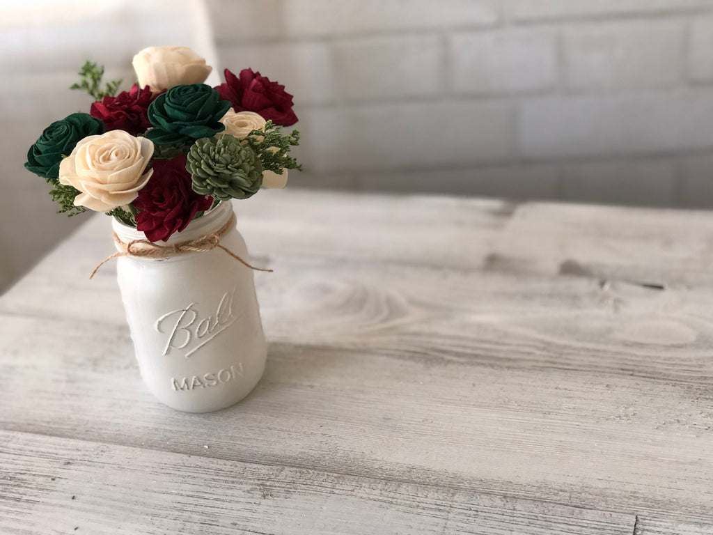 Christmas in the Country - SMALL Pint Jar Arrangement - Gift - Winter Flower Arrangement - Farmhouse Decor - Rustic Decor -  Christmas Gift Fall & Winter Collection Pine and Petal Weddings