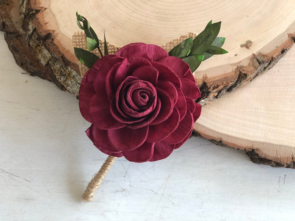 Rose Wine Boutonnière Boutonnières & Corsages Pine and Petal Weddings