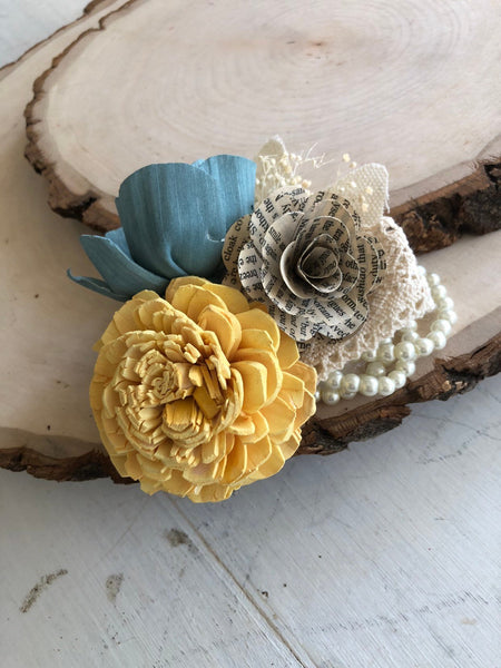 Vintage Wrist Corsage - Wooden Flowers - Timeless Vintage Wedding Collection - Tranquil Blue, Daisy Yellow - Custom Colors - Made to Order