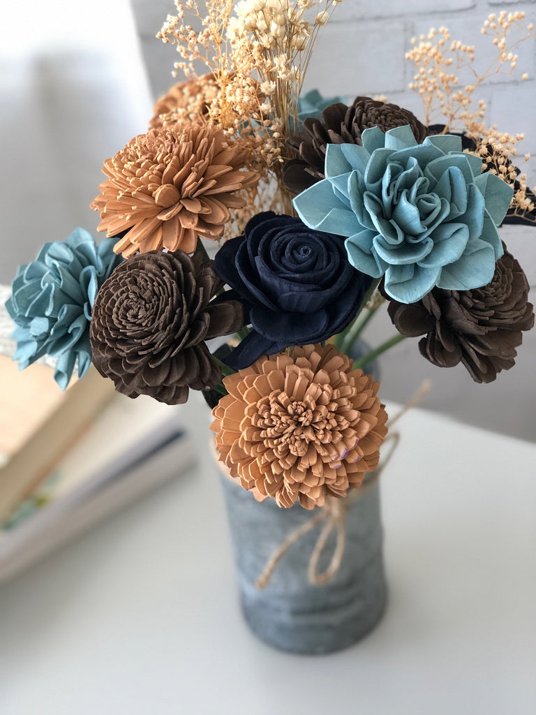 Countryside Acres Blue and Brown Wooden Flower Arrangement Arrangements Pine and Petal Weddings