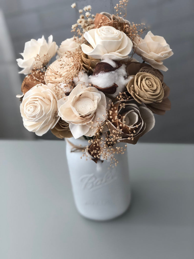Rustic Cotton Wood Flower Arrangement Arrangements Pine and Petal Weddings