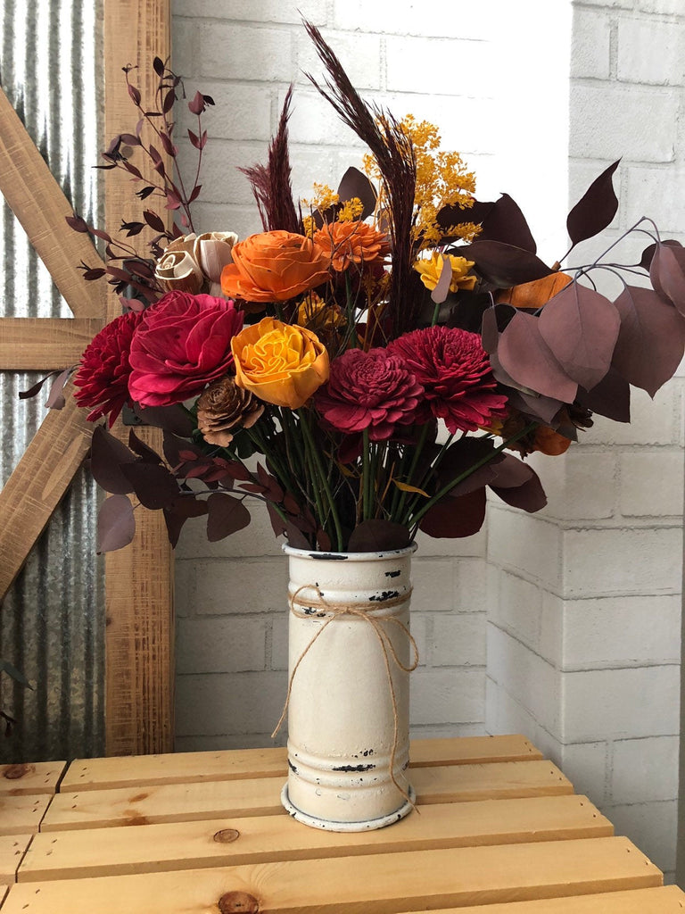 Fall Gather 'Round Table Vase Arrangement - Fall Decor - Thanksgiving Decor - Wooden Flowers - Sola Flowers - Flower Arrangement - Autumn Fall & Winter Collection Pine and Petal Weddings