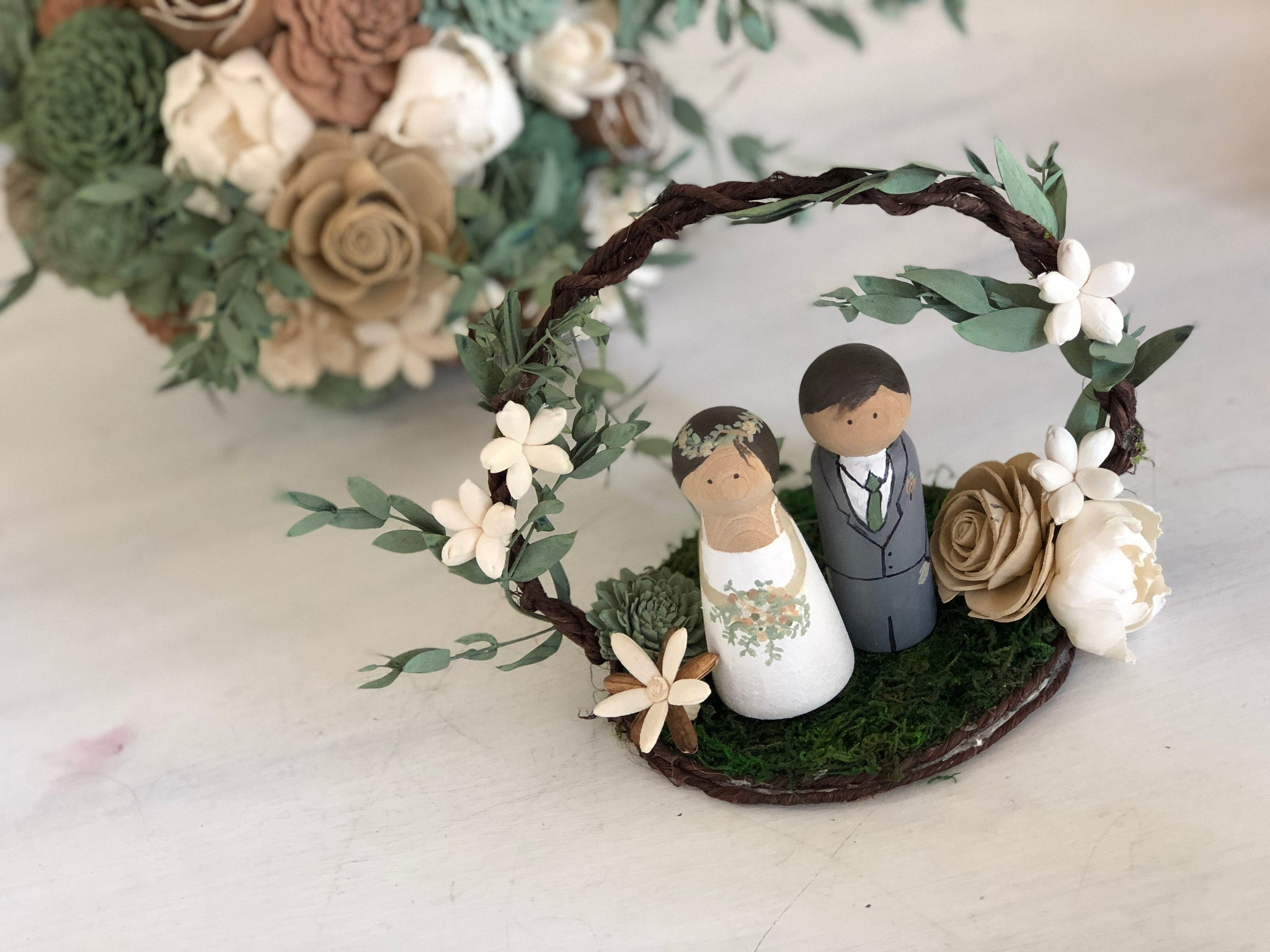 CUSTOM Cake Topper with Handpainted Peg Dolls - Sola Flowers - Wood Flowers - Matching Bouquet -Wedding Cake Topper - Flowers NOT Included