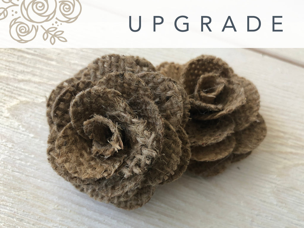 Burlap Flowers UPGRADE Bouquet Upgrades Pine and Petal Weddings