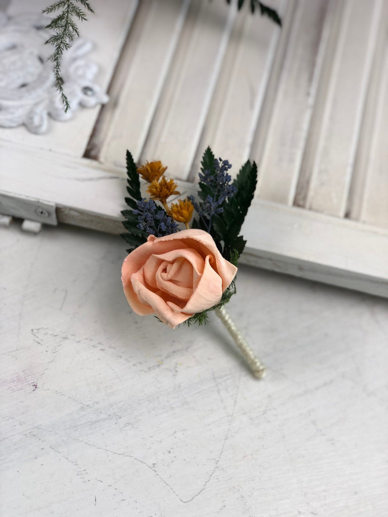 Peaches and Dream Rose Boutonniere Boutonnières & Corsages Pine and Petal Weddings