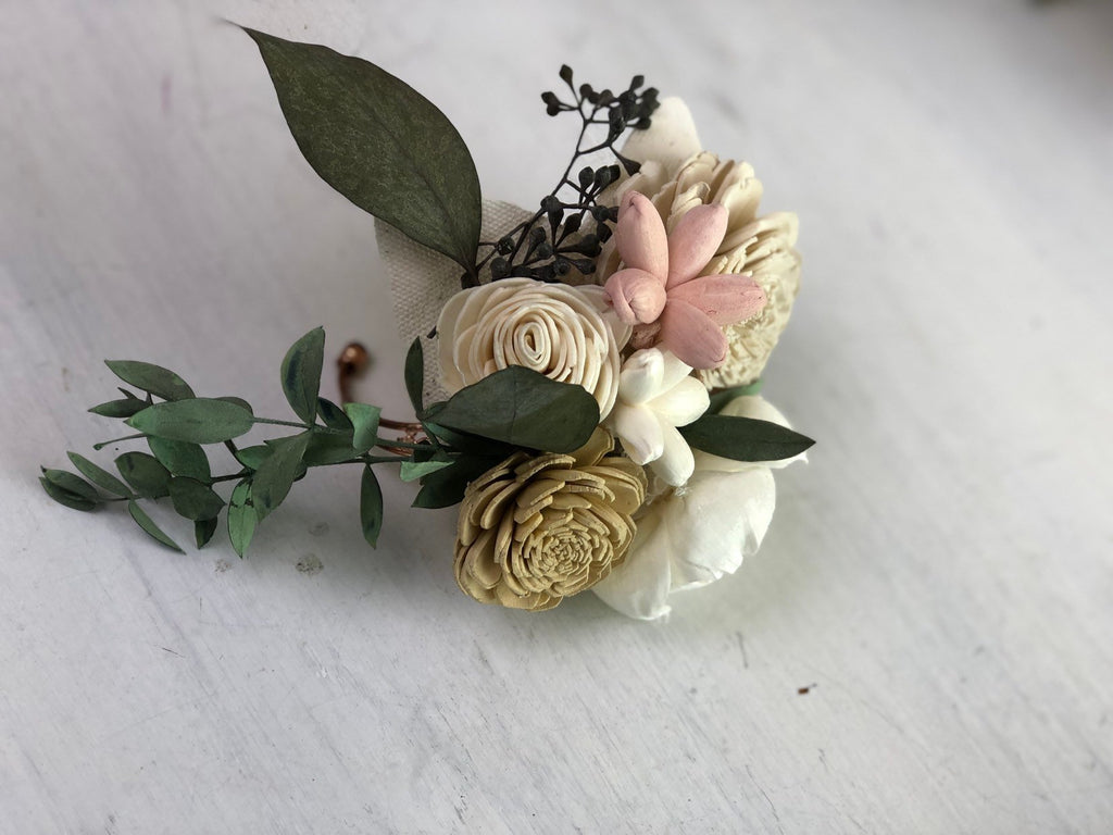 Blushing Blooms Wrist Corsage Boutonnières & Corsages Pine and Petal Weddings
