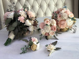 Blushing Blooms Boutonniere Boutonnières & Corsages Pine and Petal Weddings