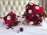 Roses and Rubies Foliage Boutonniere Boutonnières & Corsages Pine and Petal Weddings