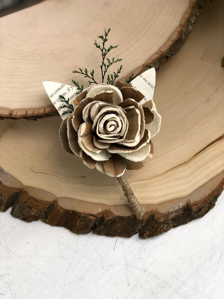 Naturally Novel Boutonniere Boutonnières & Corsages Pine and Petal Weddings